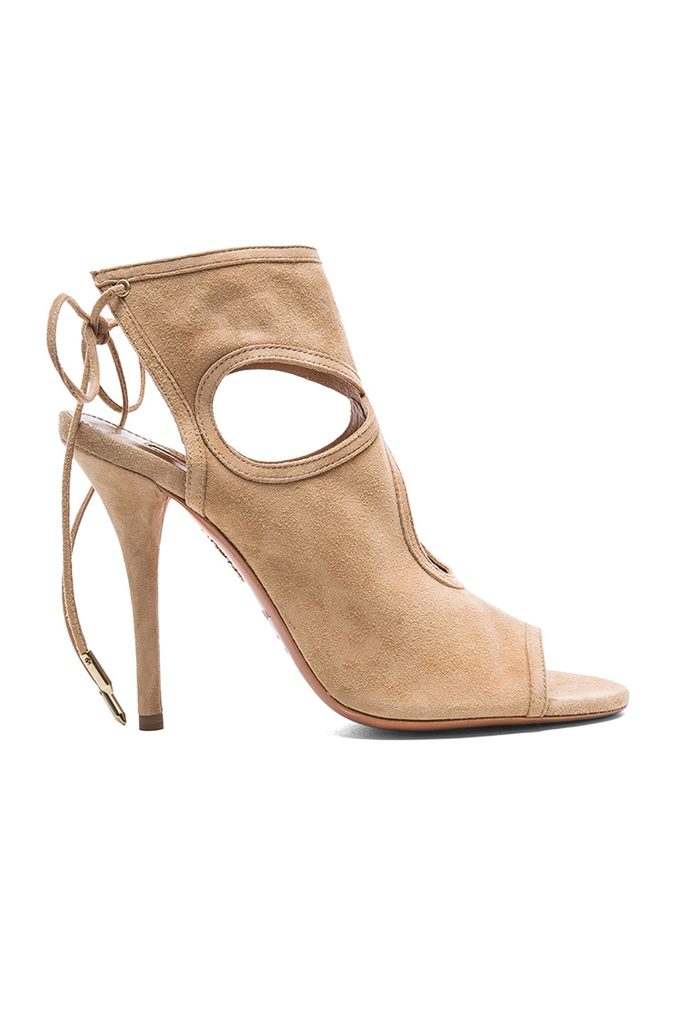 Image 1 of Aquazzura Sexy Thing Suede Sandals in Nude