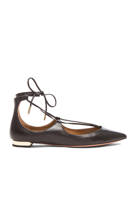 Image 1 of Aquazzura Christy Leather Flats in Black