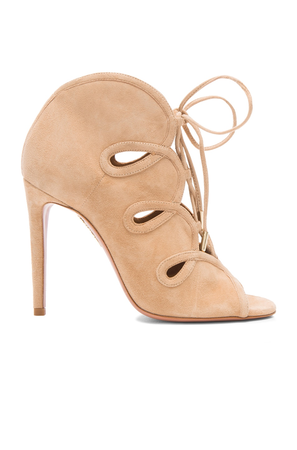 Image 1 of Aquazzura French Kiss Suede Heels in Nude