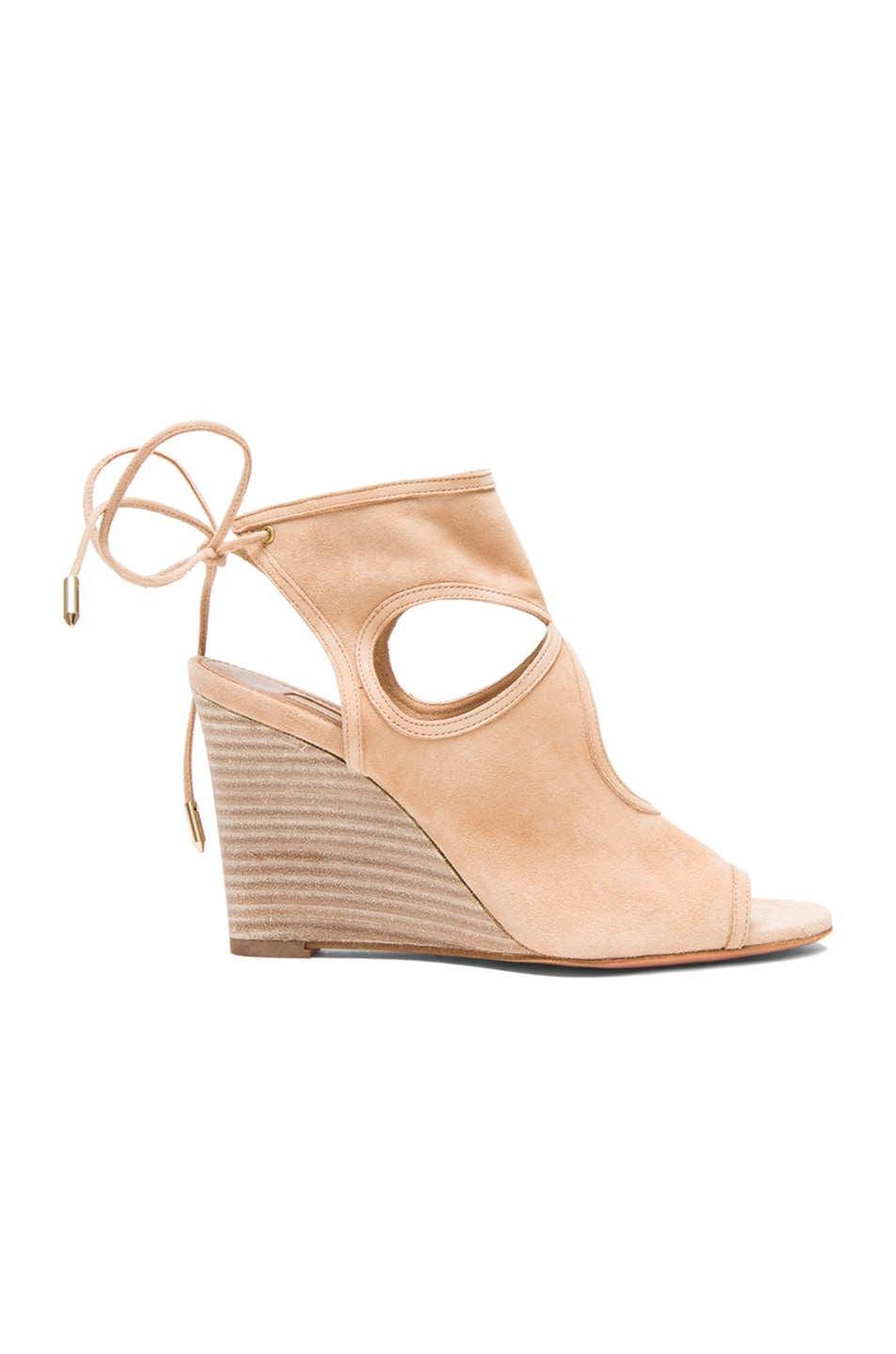 Image 1 of Aquazzura Sexy Thing Suede Wedges in Nude