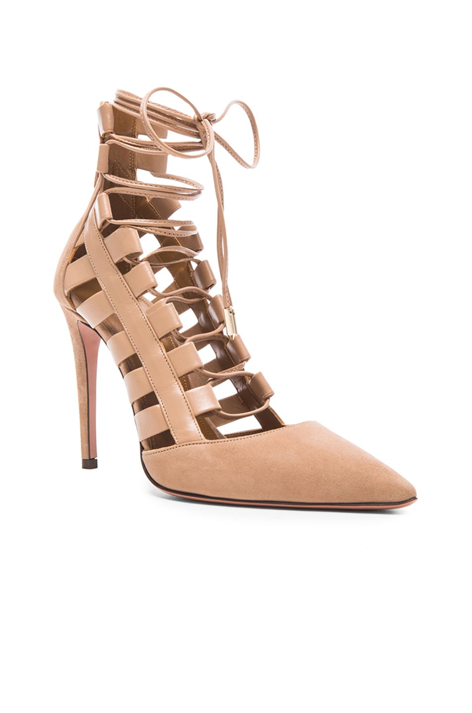 Image 2 of Aquazzura Amazon Suede Pumps in Biscotto