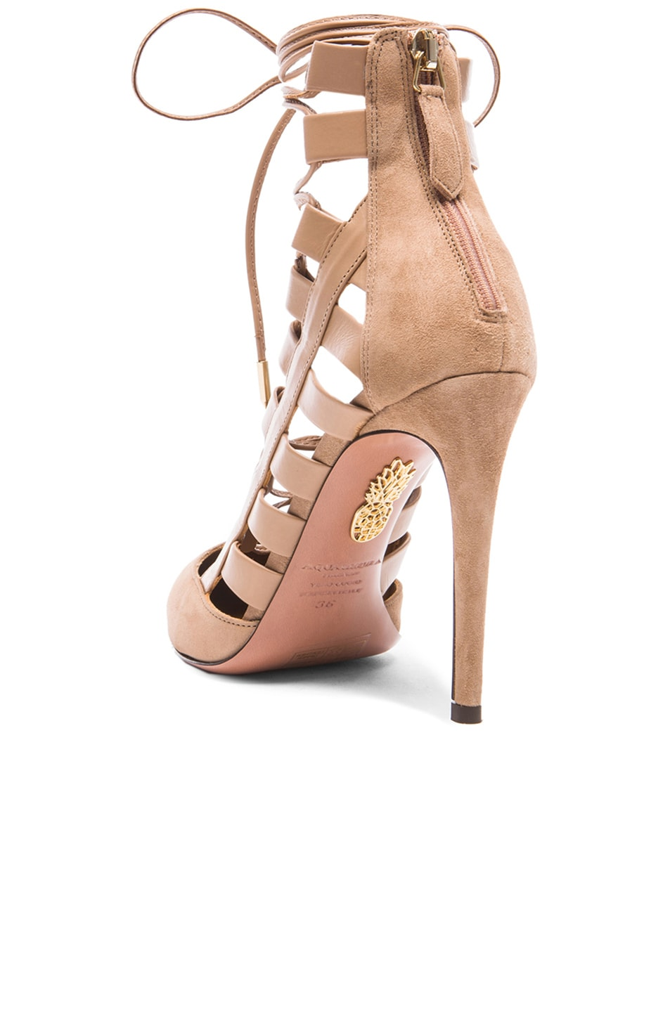 Image 3 of Aquazzura Amazon Suede Pumps in Biscotto
