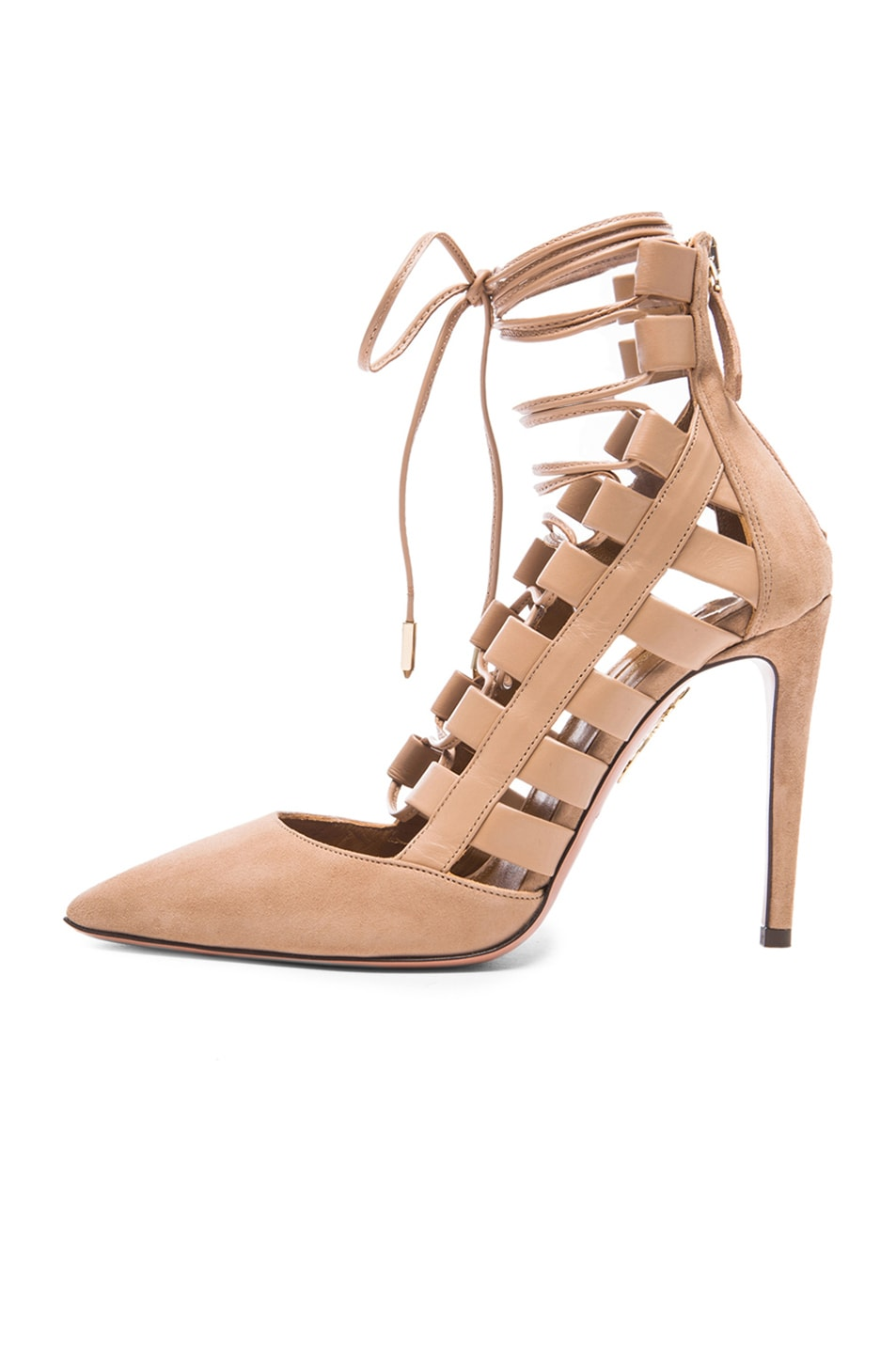 Image 5 of Aquazzura Amazon Suede Pumps in Biscotto