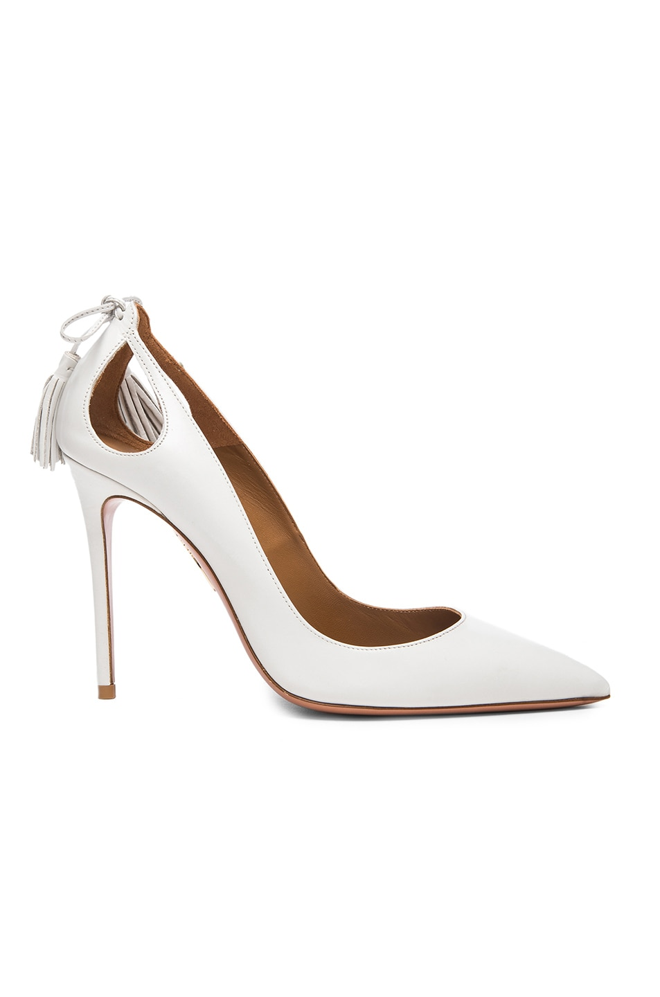 Image 1 of Aquazzura Forever Marilyn Leather Heels in White