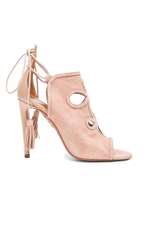 Image 1 of Aquazzura Get Me Everywhere Suede Heels in Vintage Pink