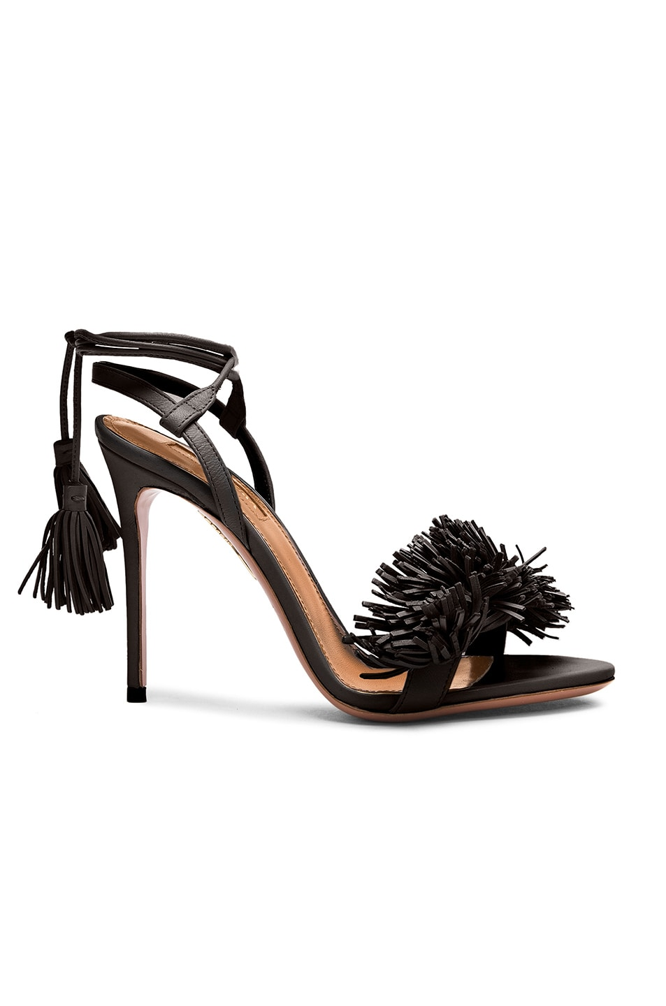 Image 1 of Aquazzura Wild Thing Leather Heels in Black