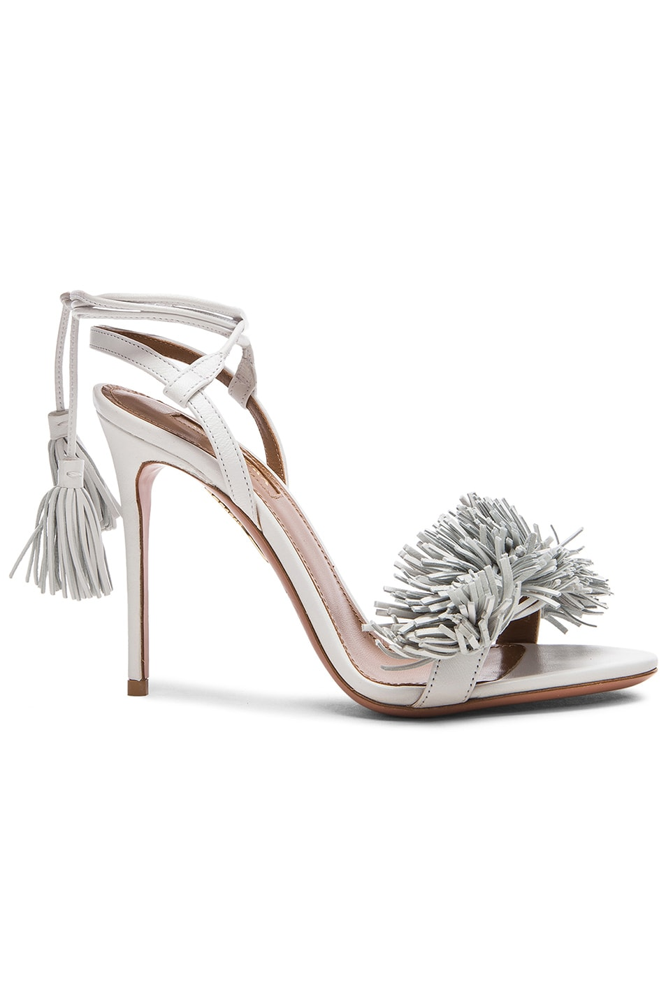 Image 1 of Aquazzura Wild Thing Leather Heels in White