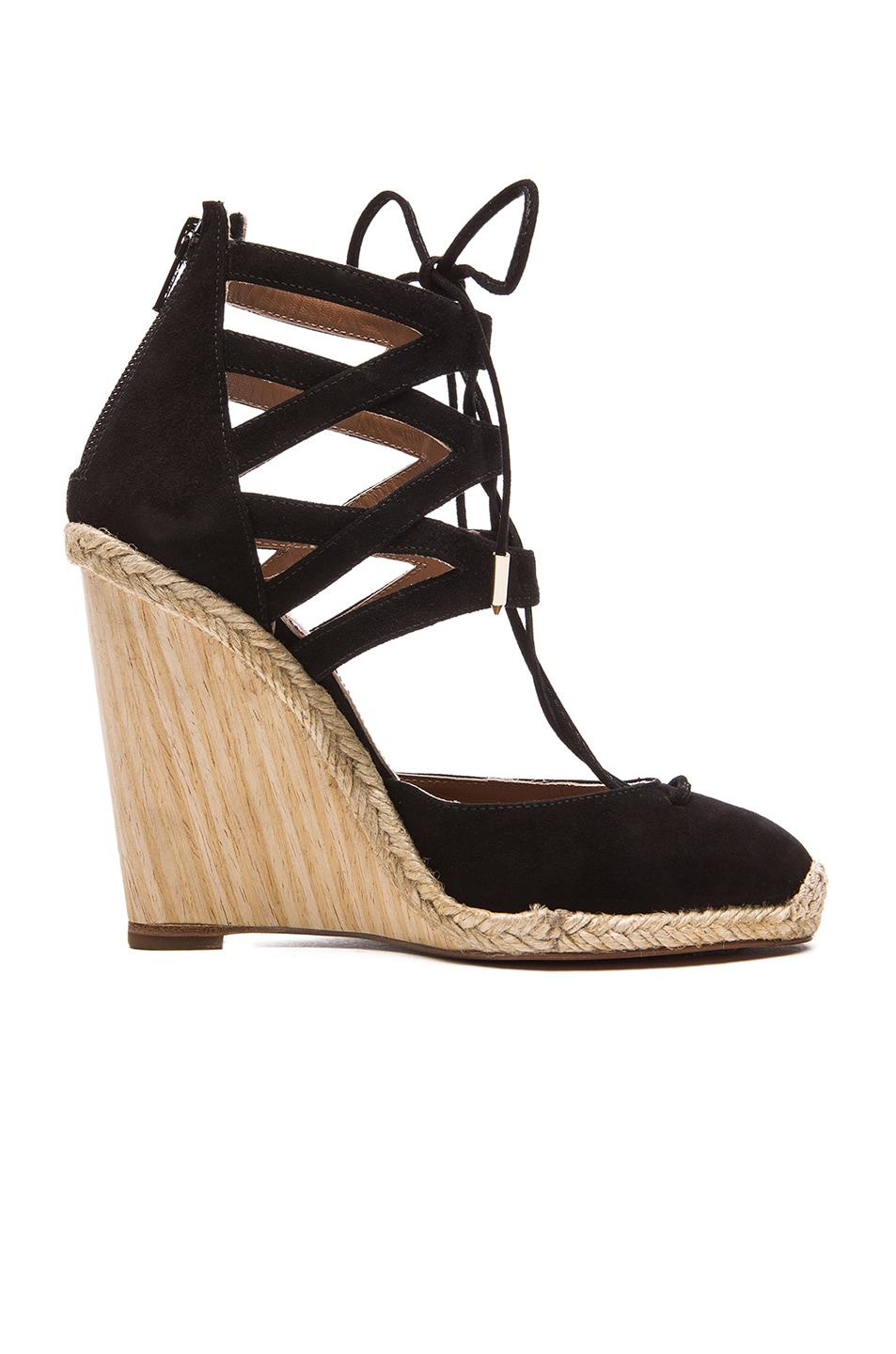 5cb0d0ca49d Image 1 of Aquazzura Belgravia Suede Wedge Espadrilles in Black