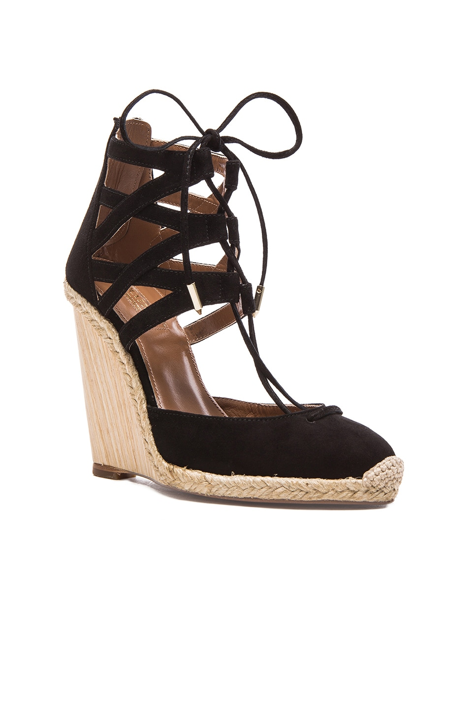 e9e71a712a3 Image 2 of Aquazzura Belgravia Suede Wedge Espadrilles in Black