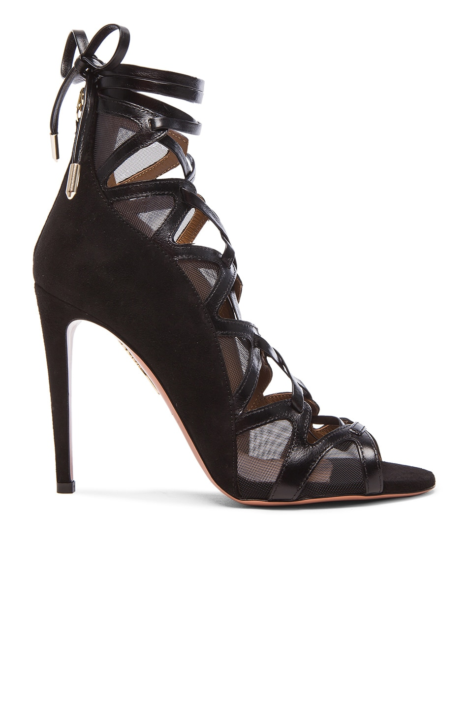 Image 1 of Aquazzura French Lover Leather & Suede Heels in Black