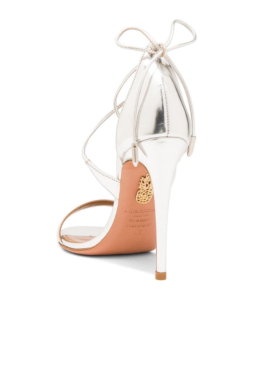 Image 3 of Aquazzura Linda Leather Heels in Silver