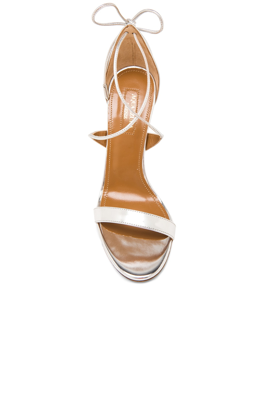 Image 4 of Aquazzura Linda Leather Heels in Silver