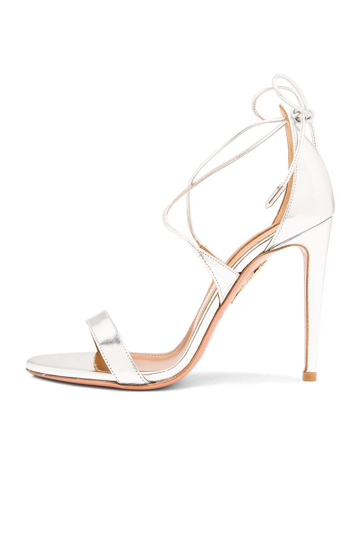 Image 5 of Aquazzura Linda Leather Heels in Silver