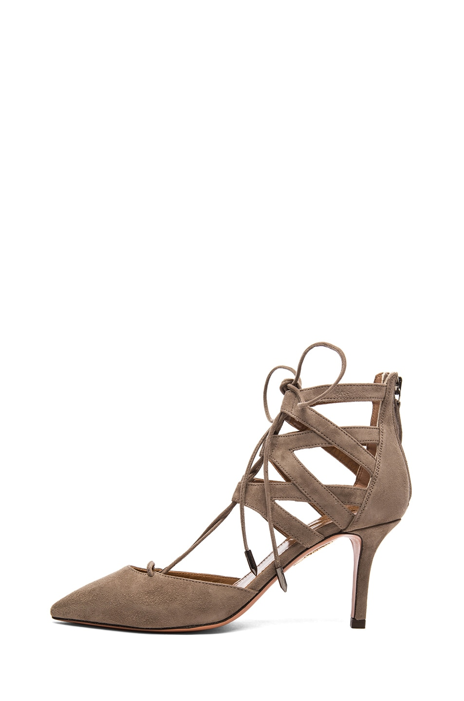 Image 1 of Aquazzura Belgravia Suede Lace Up Pumps in Taupe