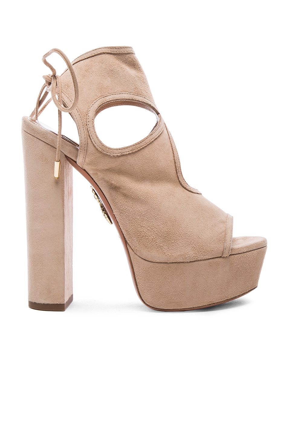 Image 1 of Aquazzura Platform Sexy Thing Suede Heels in Biscotto
