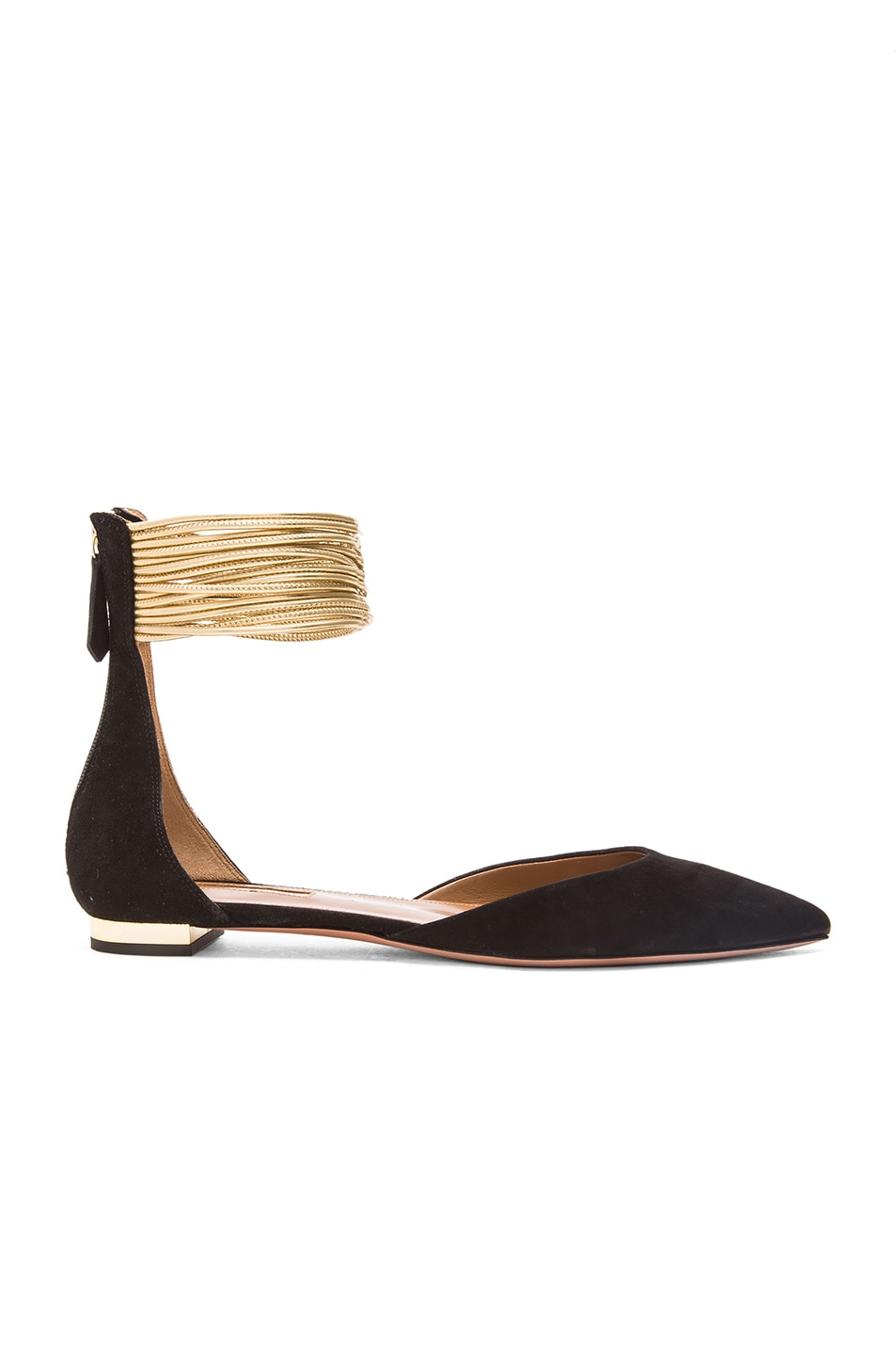 Image 1 of Aquazzura Hello Lover Suede Flats in Black