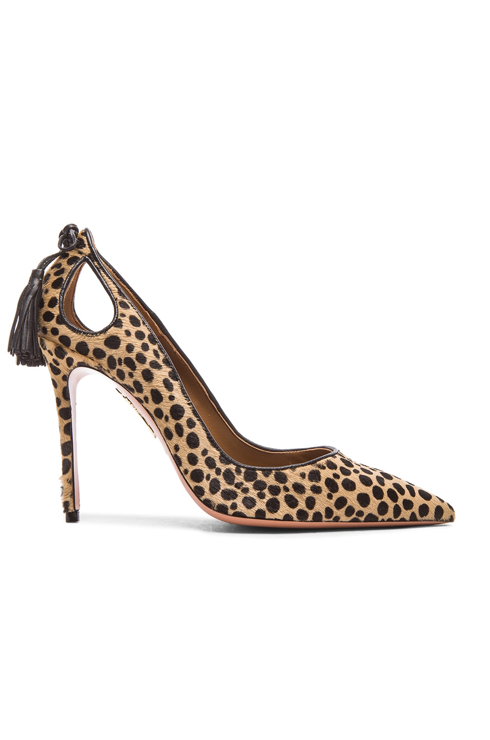 Image 1 of Aquazzura Forever Marilyn Calf Hair Heels in Cheetah