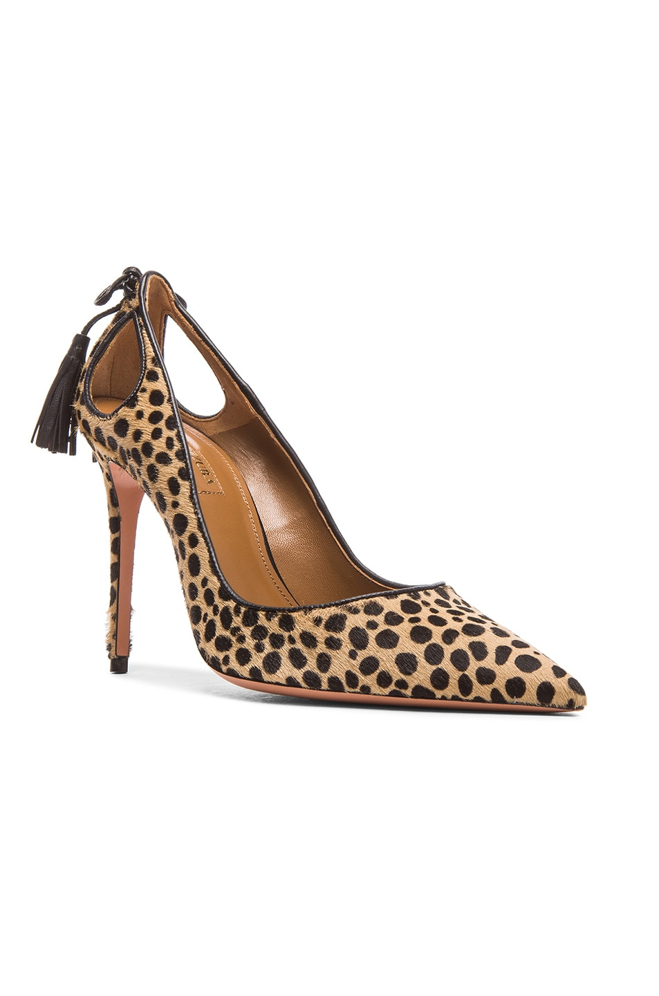 Image 2 of Aquazzura Forever Marilyn Calf Hair Heels in Cheetah