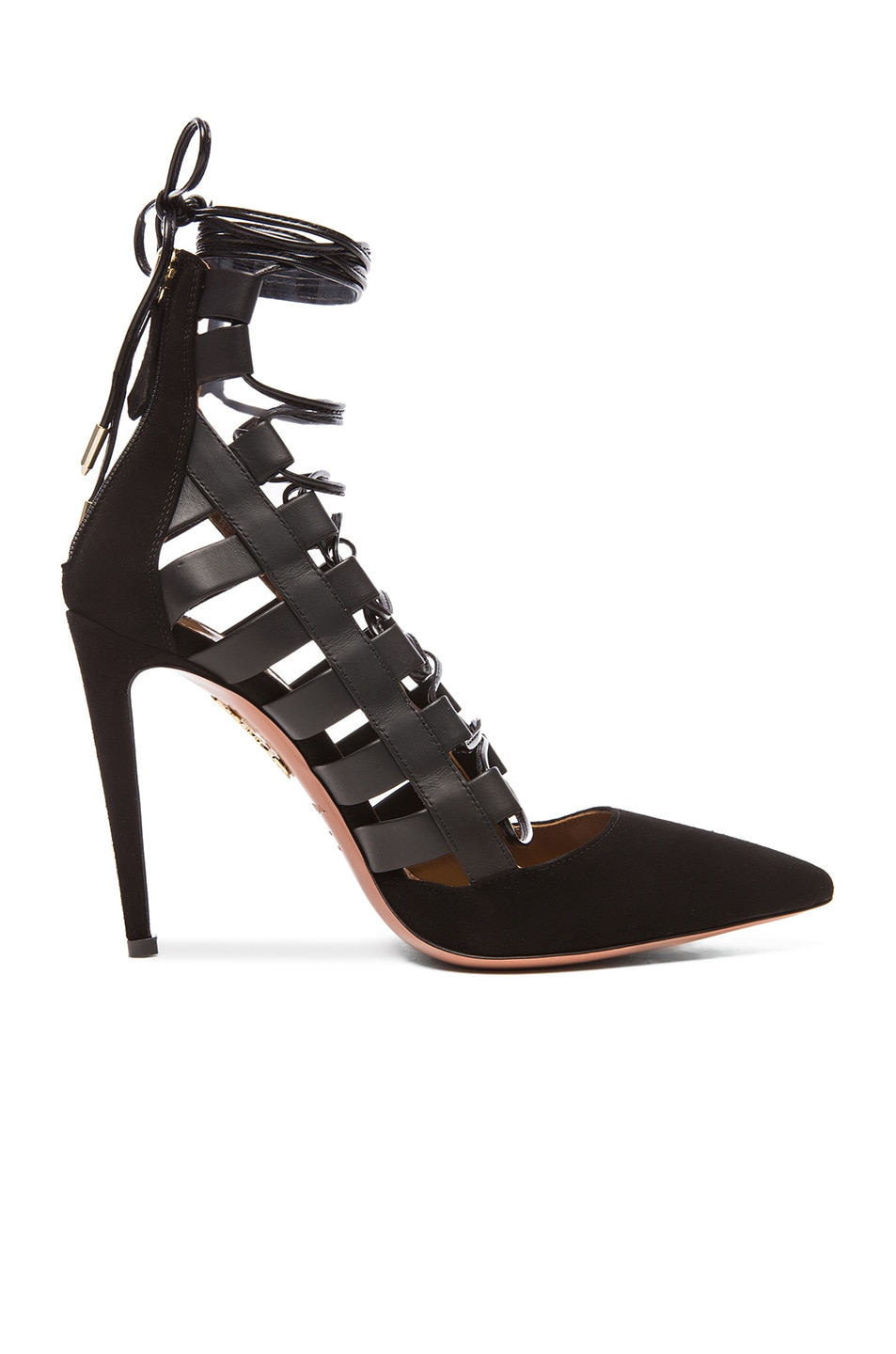 d3753424a11 Image 1 of Aquazzura Amazon Leather   Suede Heels in Black