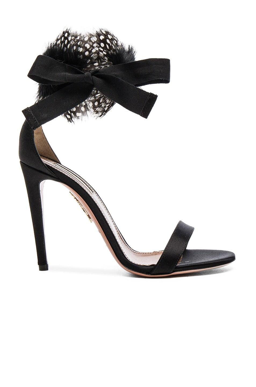 Image 1 of Aquazzura Iris Satin Heels in Black