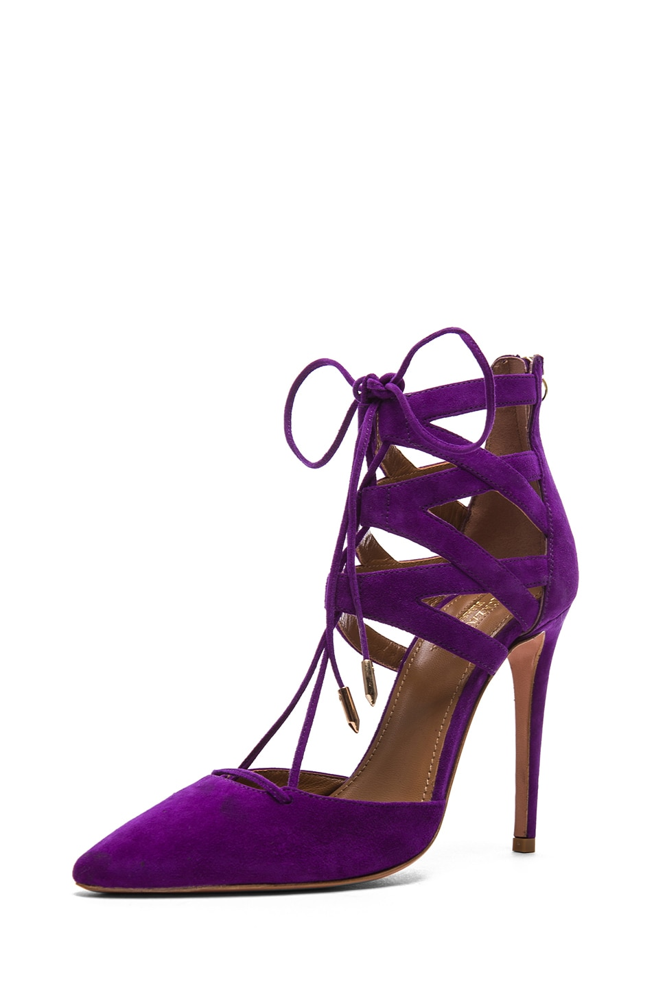 Image 1 of Aquazzura Belgravia Suede Lace Up Pumps in Violet