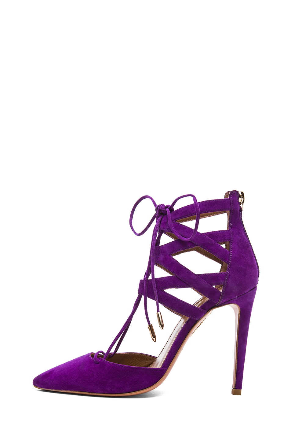 Image 2 of Aquazzura Belgravia Suede Lace Up Pumps in Violet
