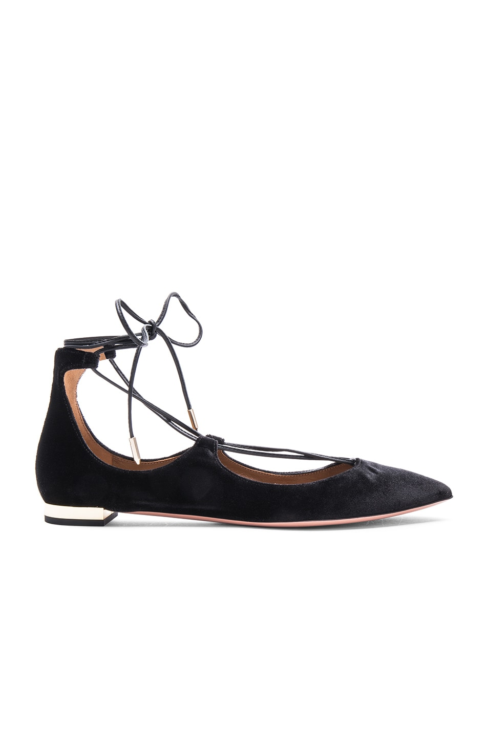 Image 1 of Aquazzura Velvet Christy Flats in Black