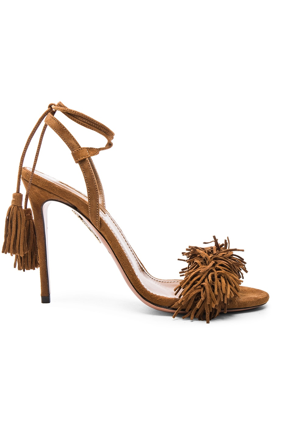 Image 1 of Aquazzura Wild Thing Suede Heels in Cognac
