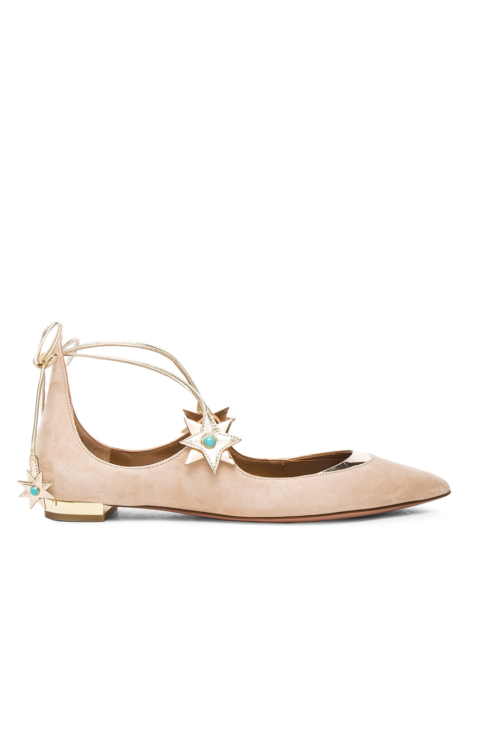 Image 1 of Aquazzura x Poppy Delevingne Midnight Suede Ballet Flats in Light Gold