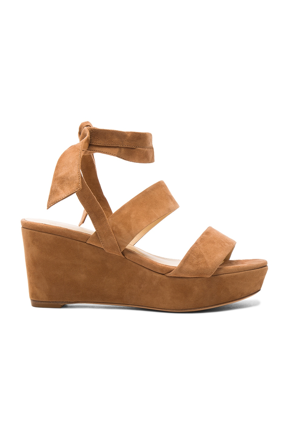 Image 1 of Alexandre Birman Suede Luma Wedges in Beige