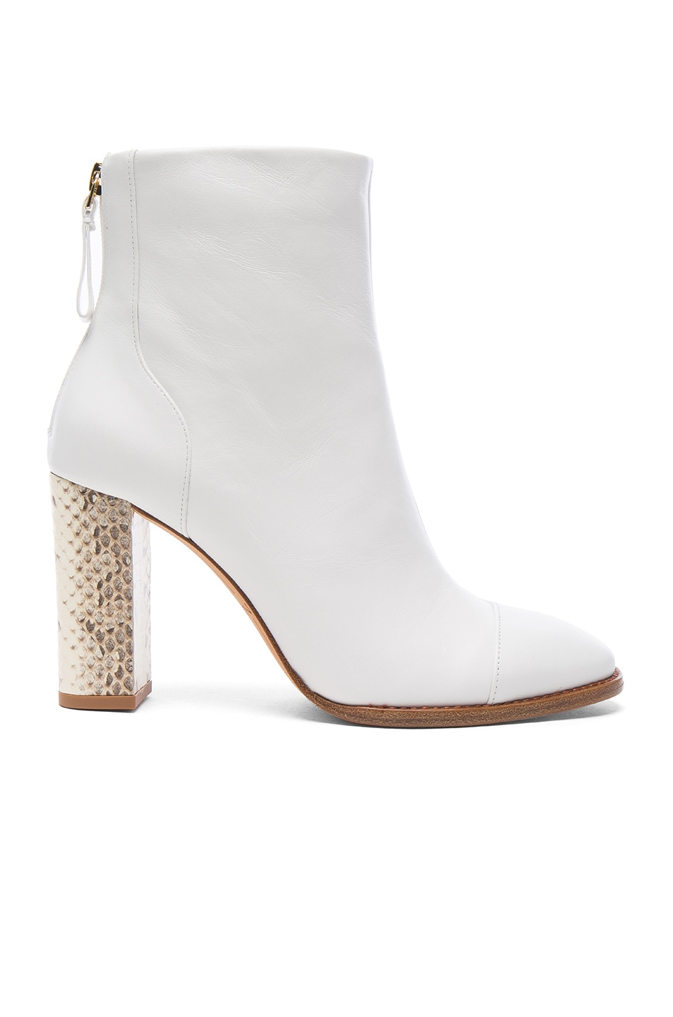 Image 1 of Alexandre Birman Leather Bibiana Watersnake Booties in White & Natural