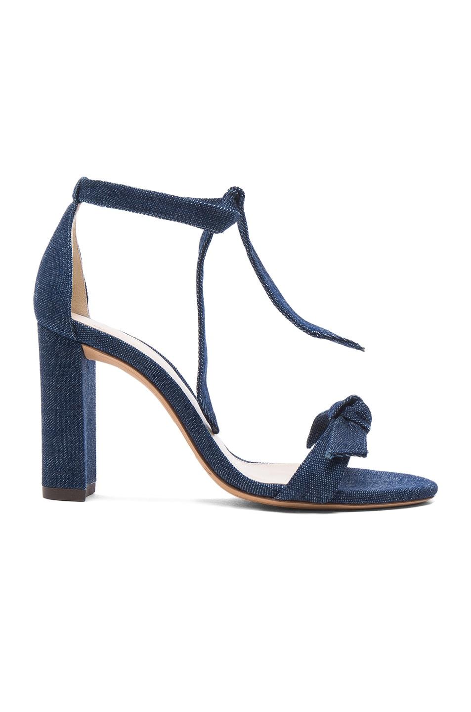 Image 1 of Alexandre Birman Denim Clarita Block Heels in Imperial Blue