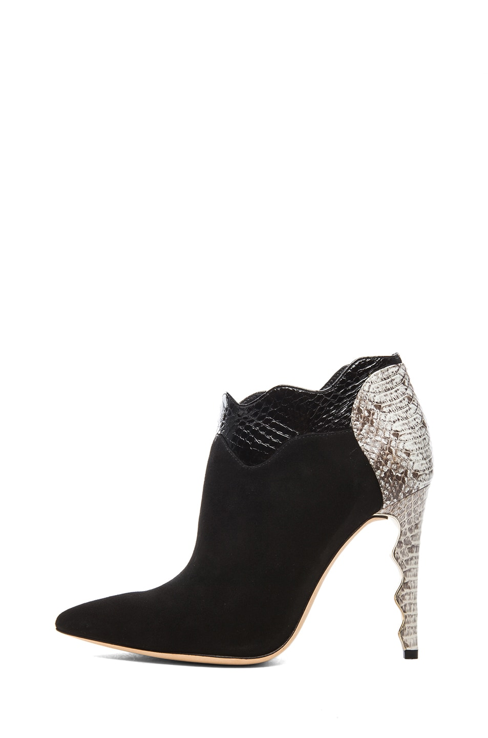 Image 1 of Alexandre Birman Calico Suede & Watersnake Booties in Black & Natural