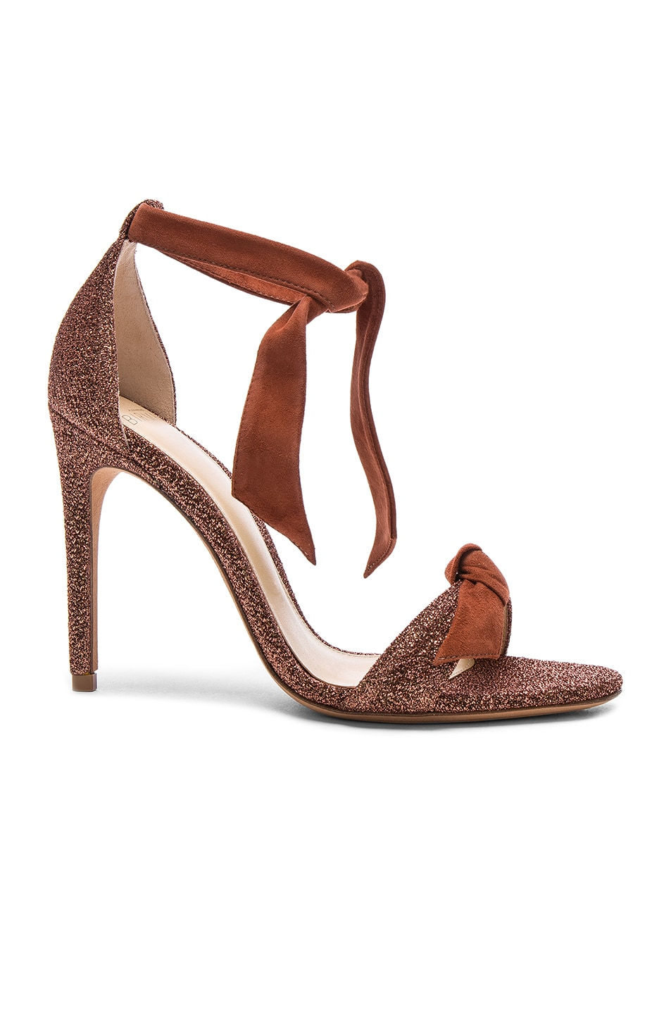 Image 1 of Alexandre Birman Suede and Metallic Fabric Clarita Heels in Cinnamon