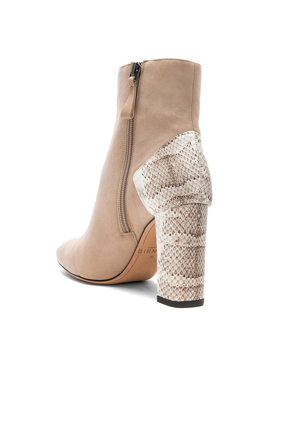 ALEXANDRE BIRMAN Suede Estella Python Boots in Neutrals,Animal Print.