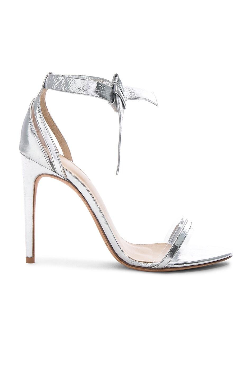 Image 1 of Alexandre Birman Leather & Plexi Clarita Sandals in Silver & Transparent