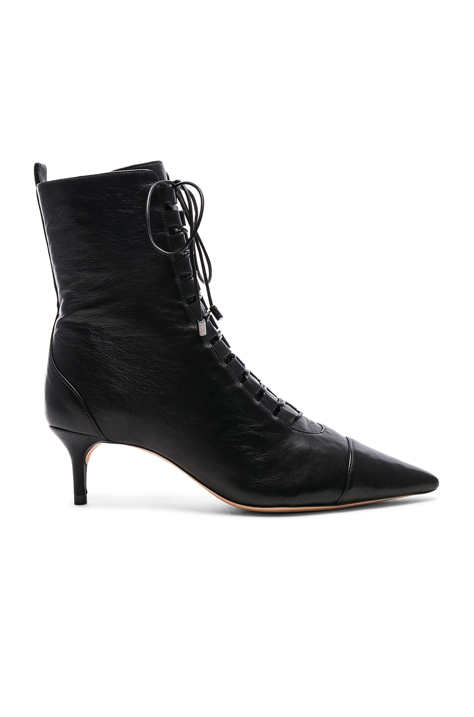 Image 1 of Alexandre Birman Leather Millen Lace Up Ankle Boots in Black