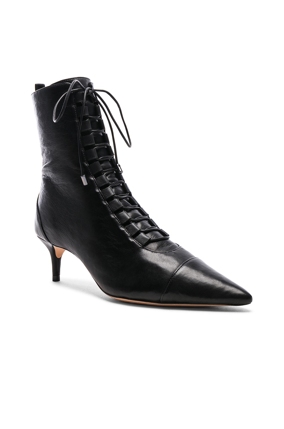 Image 2 of Alexandre Birman Leather Millen Lace Up Ankle Boots in Black