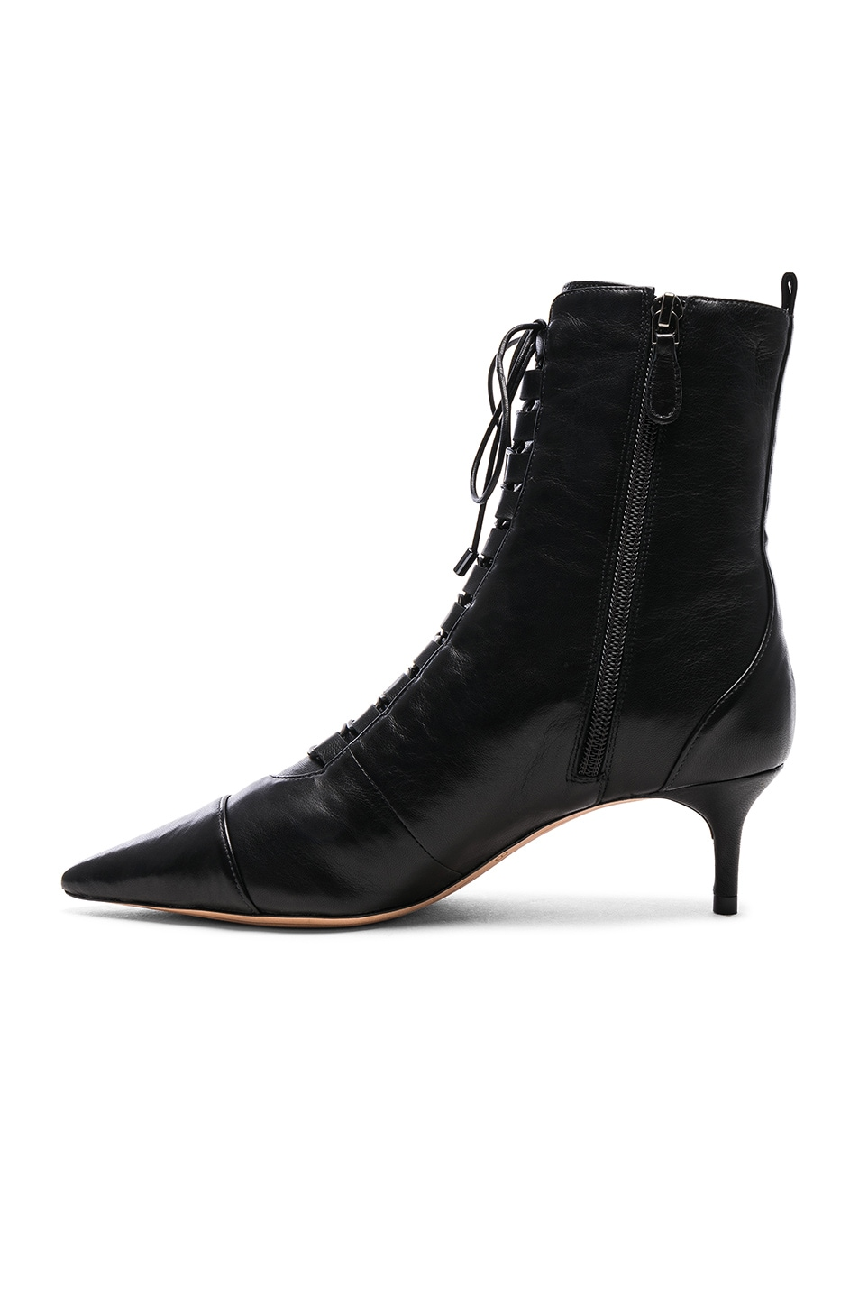 Image 5 of Alexandre Birman Leather Millen Lace Up Ankle Boots in Black