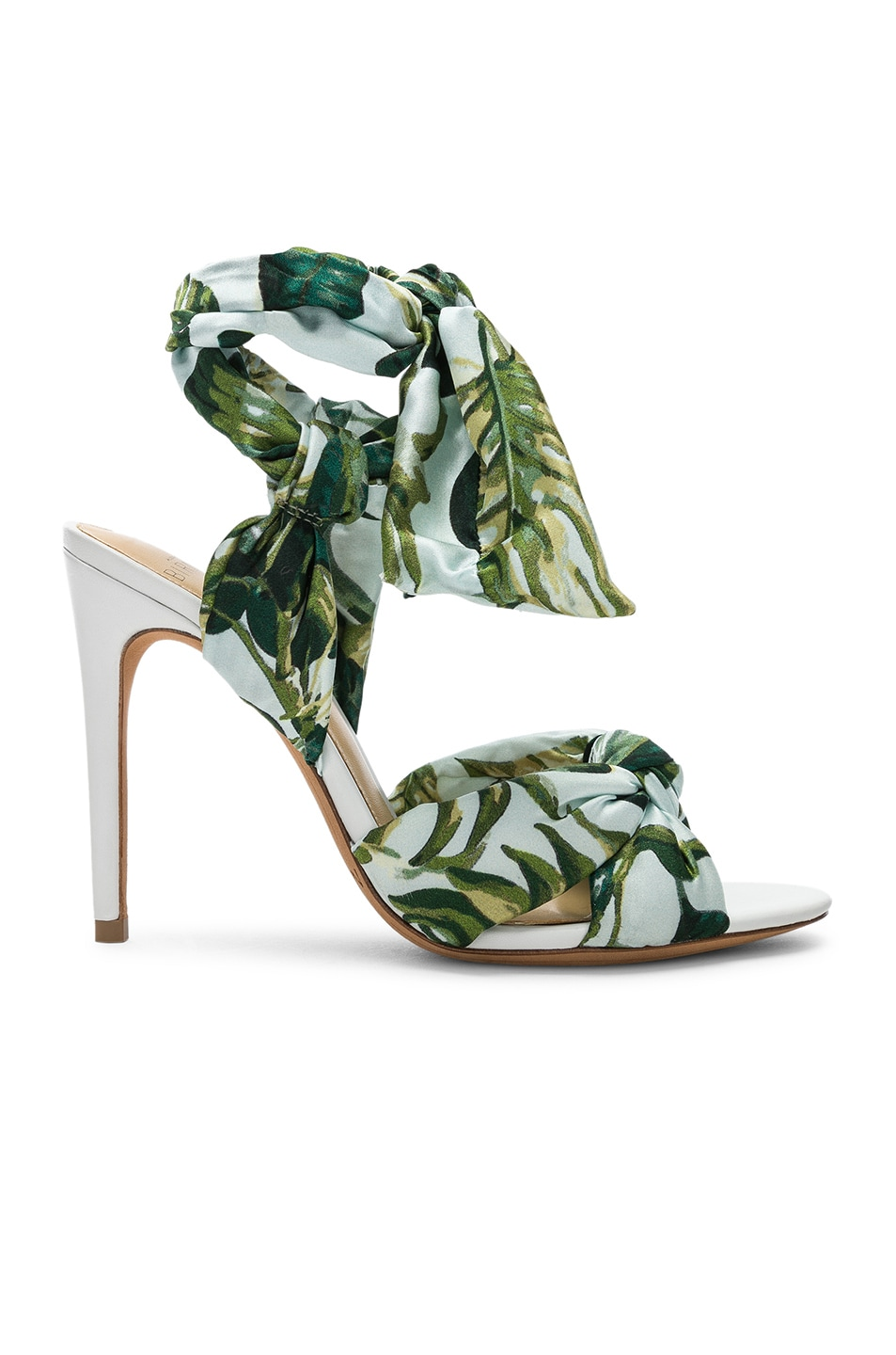 Image 1 of Alexandre Birman Kacey Silk Heels in Green & White