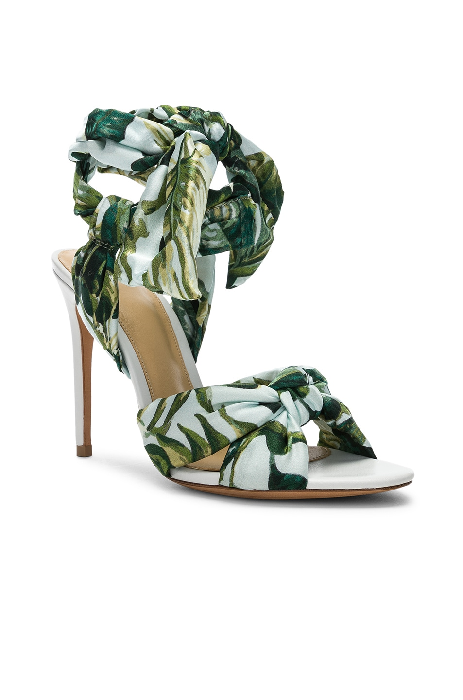 Image 2 of Alexandre Birman Kacey Silk Heels in Green & White