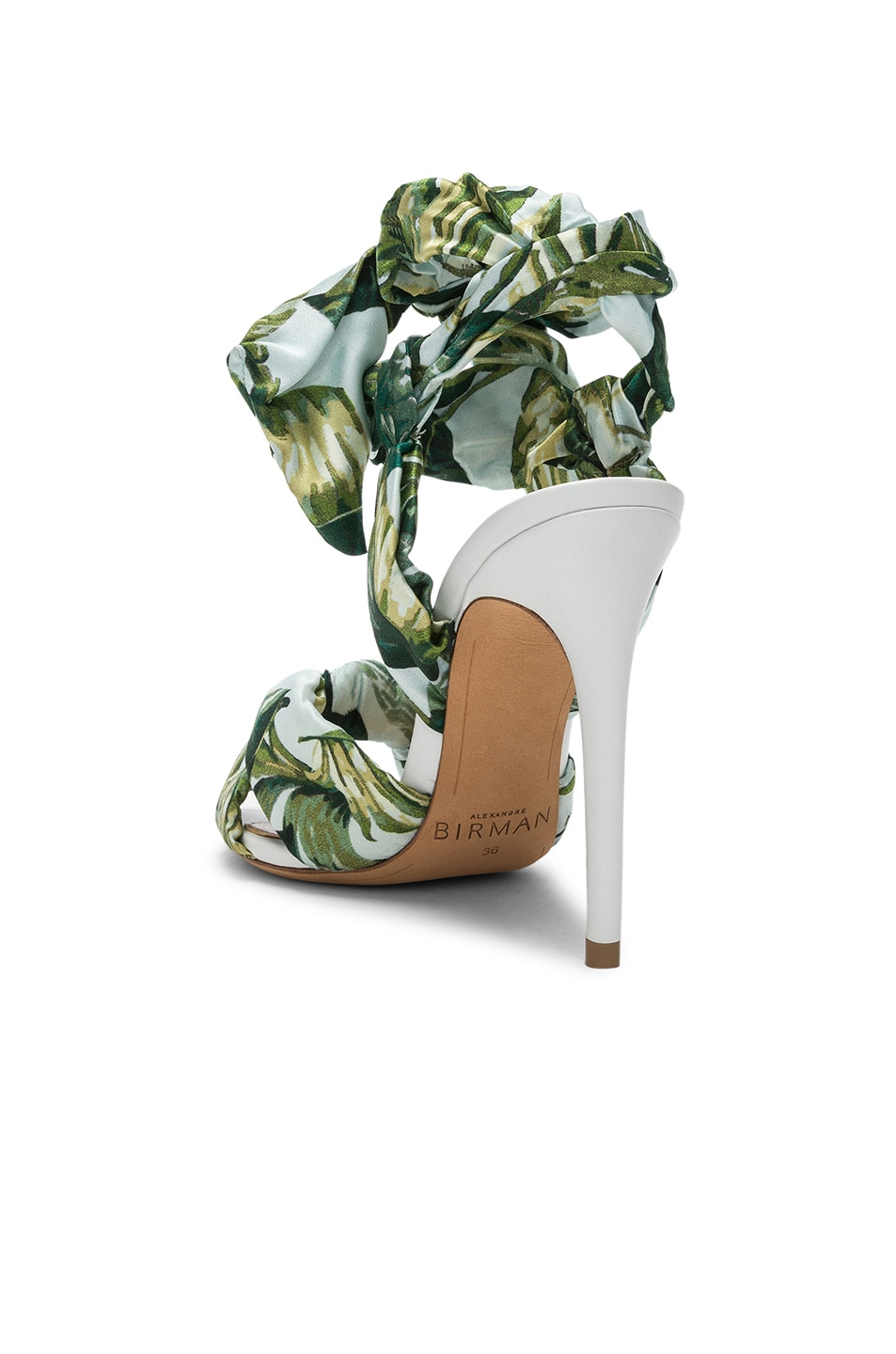 Image 3 of Alexandre Birman Kacey Silk Heels in Green & White