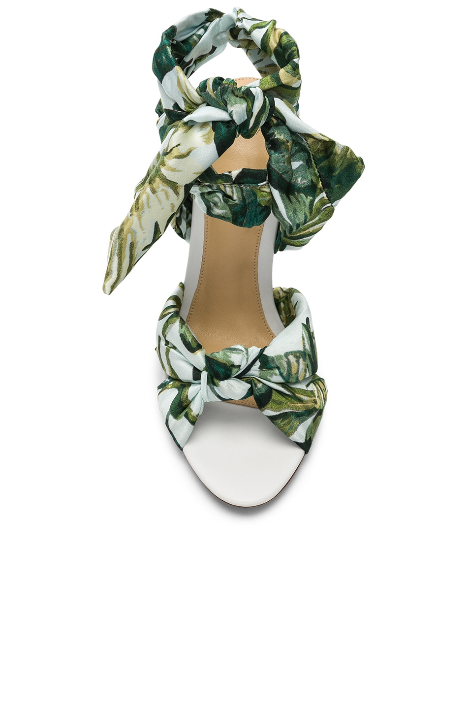 Image 4 of Alexandre Birman Kacey Silk Heels in Green & White