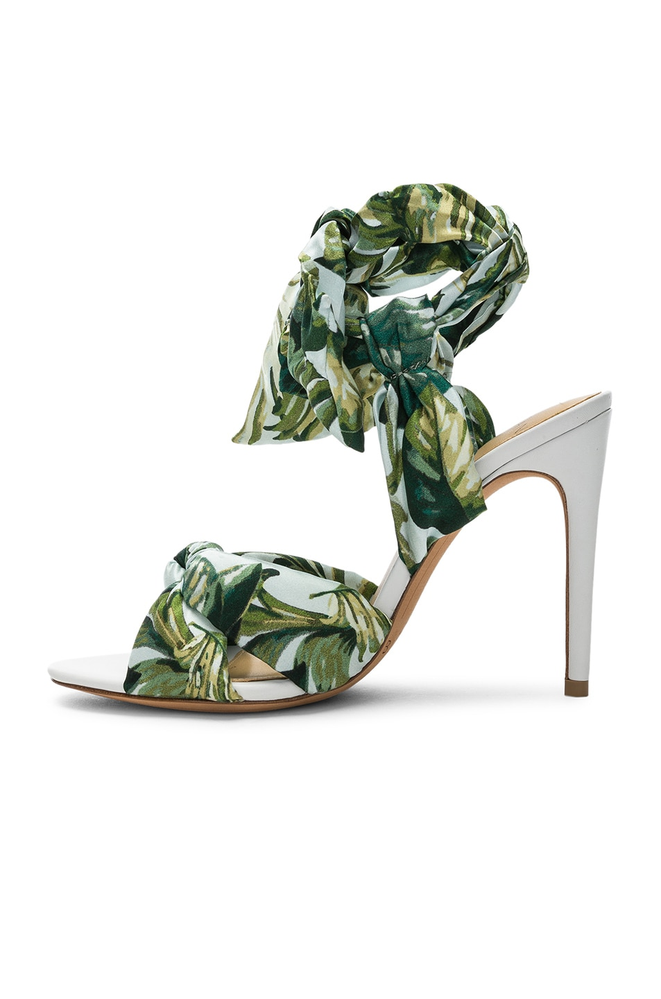 Image 5 of Alexandre Birman Kacey Silk Heels in Green & White