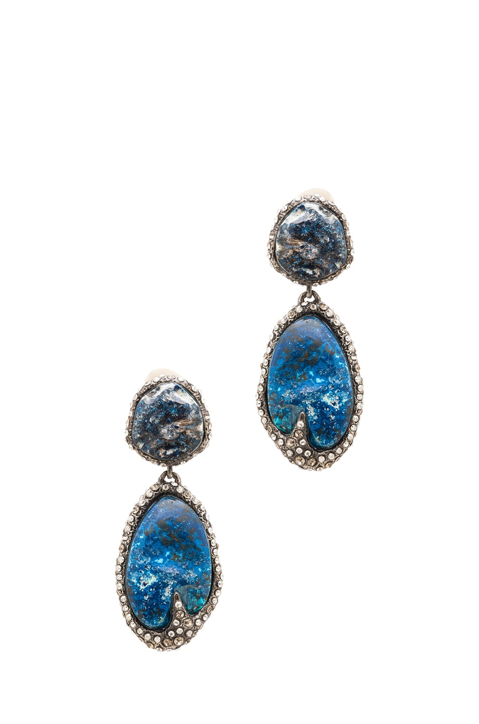Image 1 of Alexis Bittar Drop Clip Earring in Antique Rhodium Chrysocolla