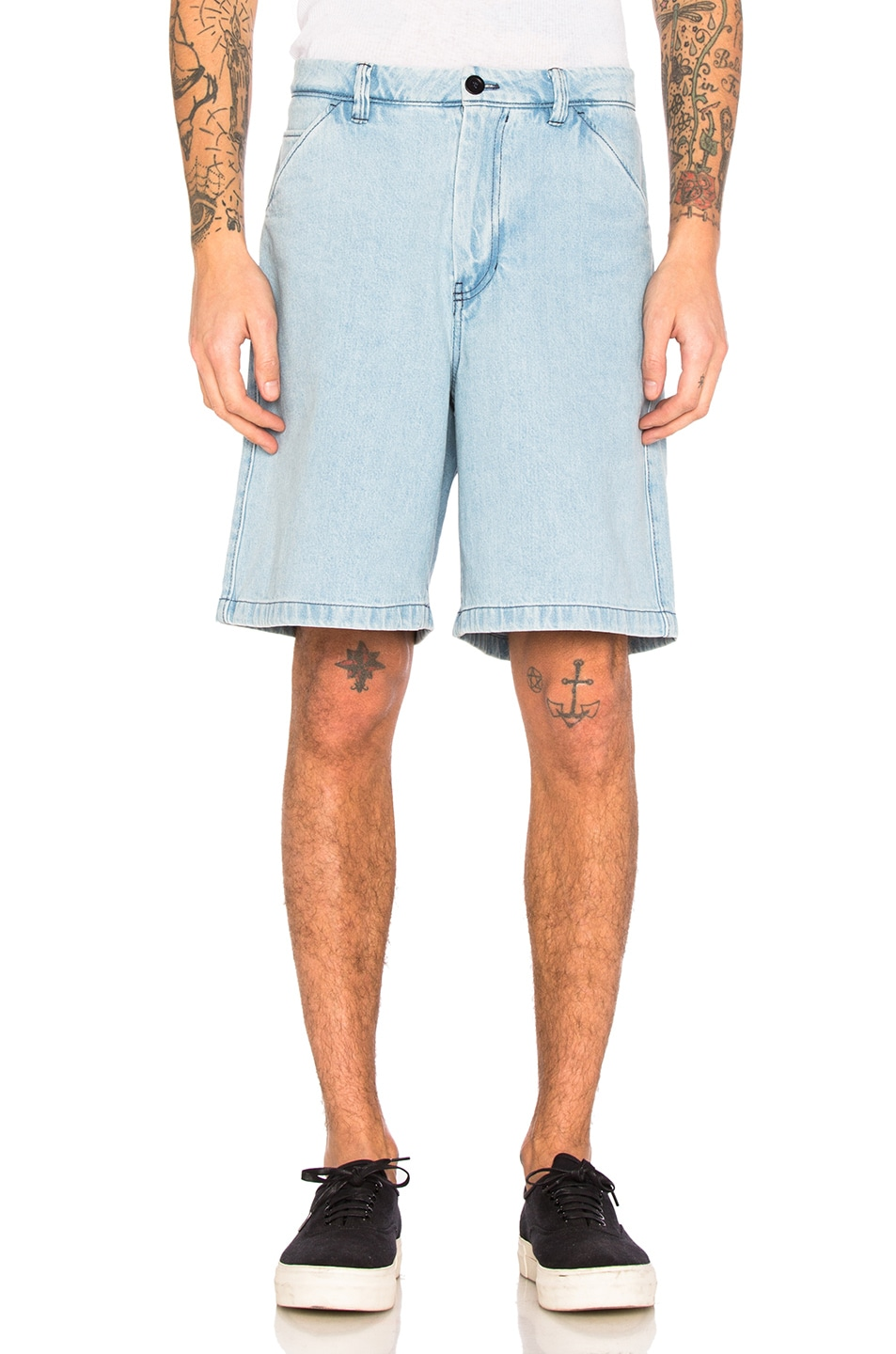 Image 1 of Acne Studios Allan Denim Shorts in Light Indigo