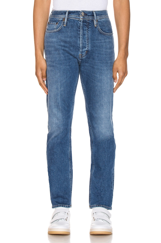 Image 1 of Acne Studios River Mid Blue 5 Pocket Denim Jeans in Length 34