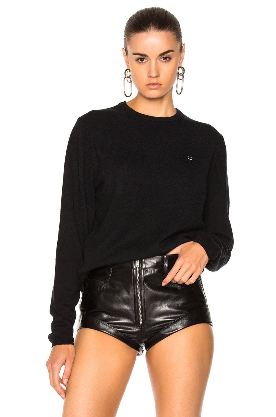 Image 1 of Acne Studios Dasher Face Sweater in Black