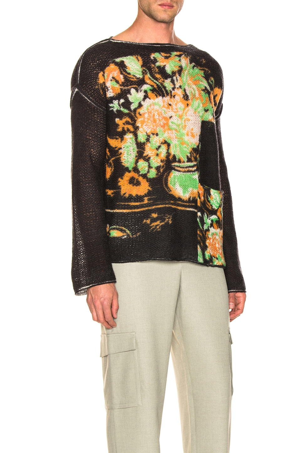 Image 2 of Acne Studios Kameron Wool Lace Print Knit in Black