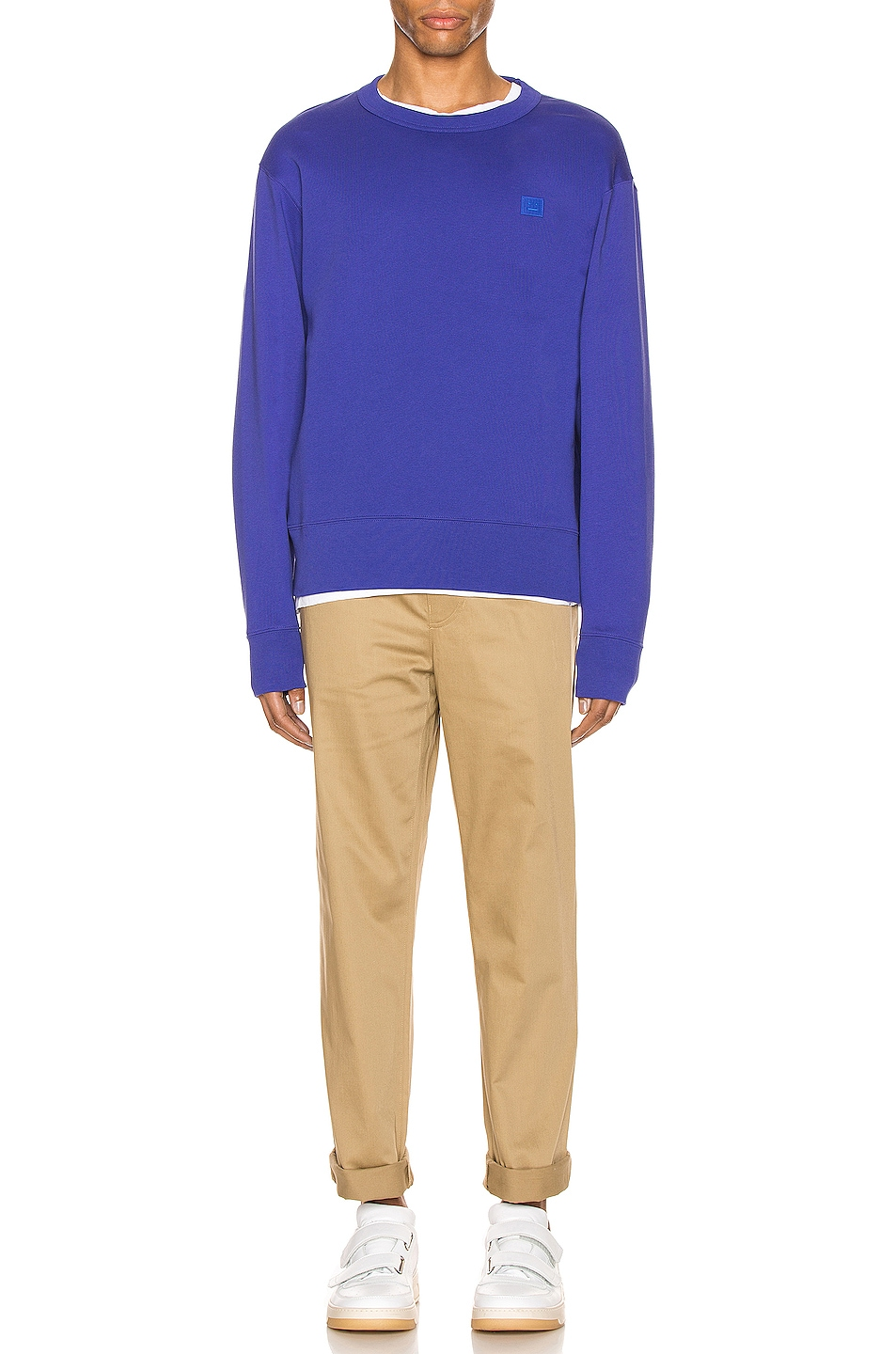 Image 4 of Acne Studios Fairview Face Sweatshirt in Electric Blue
